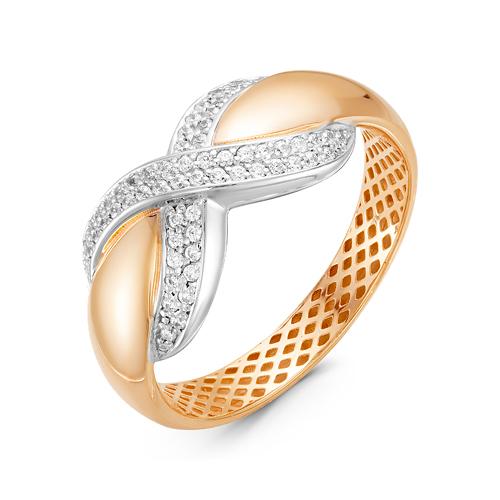 Кольцо из комбинированного золота со вставками: фианит, круг