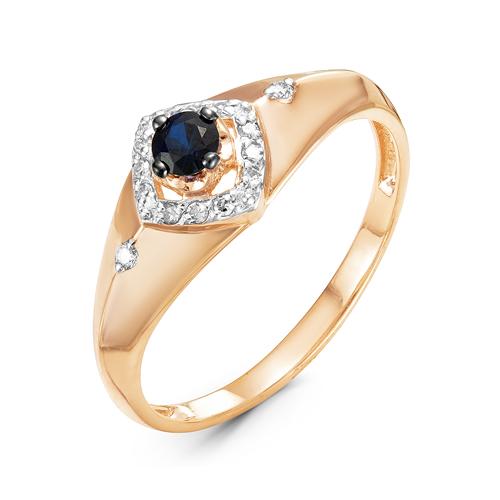 Кольцо из красного золота со вставками: бриллиант круг, сапфир натуральный, круг