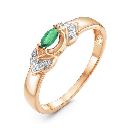 Кольцо из красного золота со вставками: бриллиант круг, изумруд натуральный, маркиз