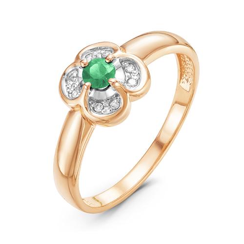 Кольцо из красного золота со вставками: бриллиант круг, изумруд натуральный, круг