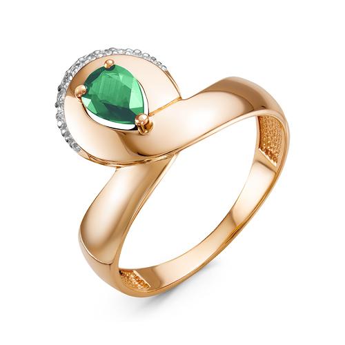 Кольцо из золота со вставками: изумруд синтетический, груша, бриллиант круг