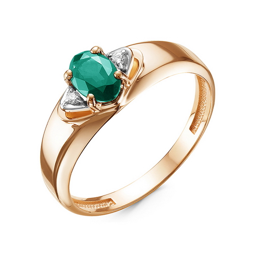Кольцо из красного золота со вставками: изумруд натуральный, овал, бриллиант круг
