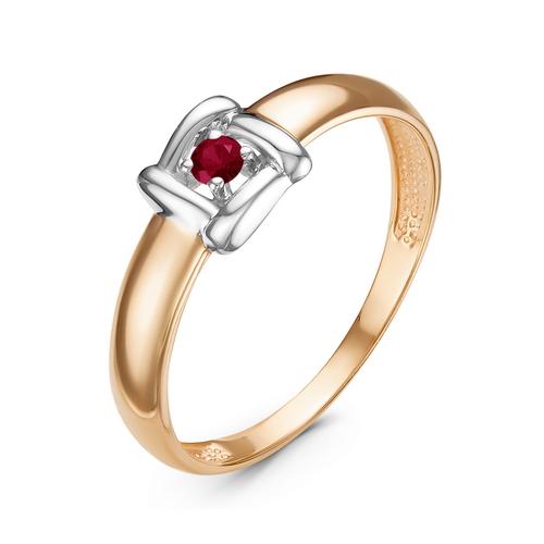 Кольцо из красного золота со вставками: рубин натуральный, круг