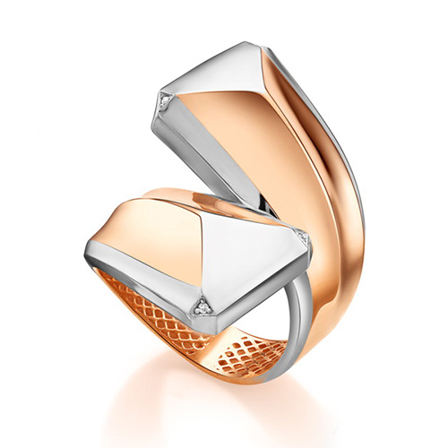 Кольцо из золота со вставками: бриллиант круг
