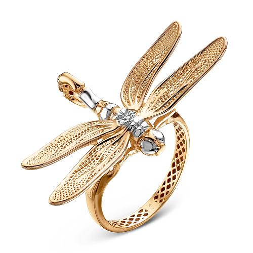 Кольцо со стрекозой и бриллиантами д110048 delta фото