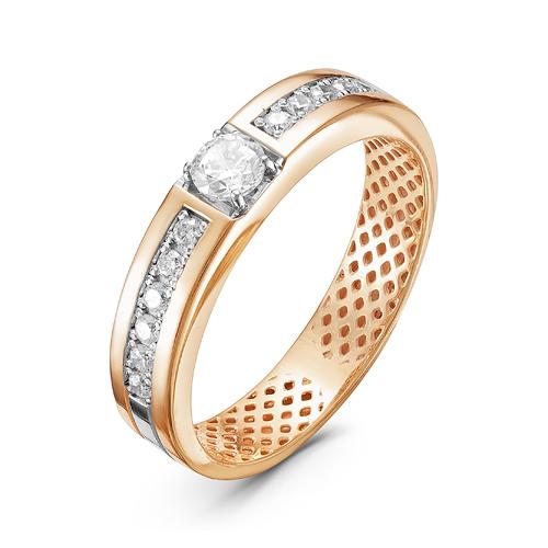 Кольцо из золота со вставками: фианит круг