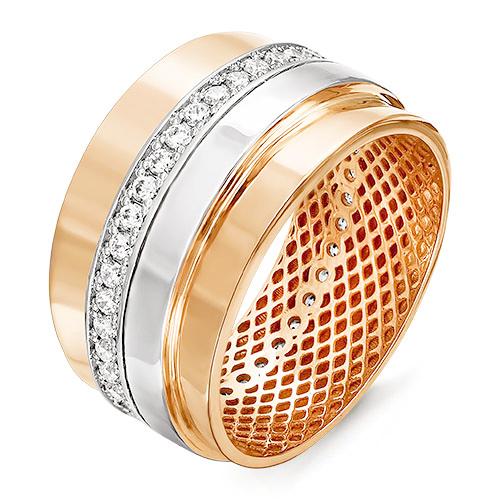 Кольцо из золота со вставками: фианит, круг