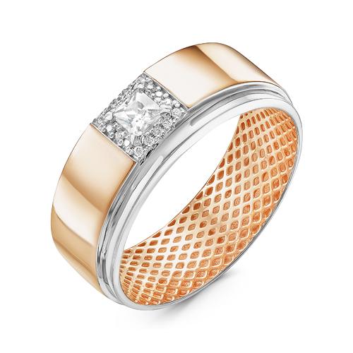 Кольцо из золота со вставками: фианит, квадрат, фианит, круг