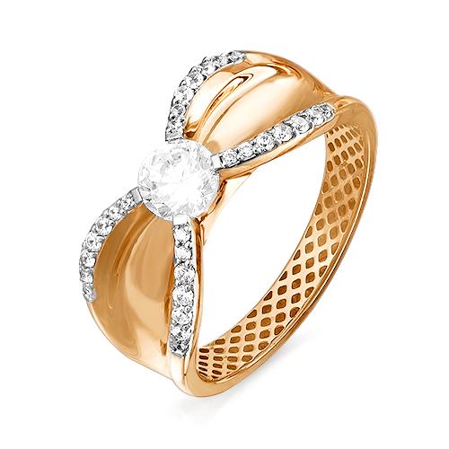 Кольцо из золота со вставками: фианит круг, фианит, круг