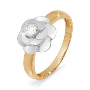 Кольцо из белого золота со вставками: бриллиант круг
