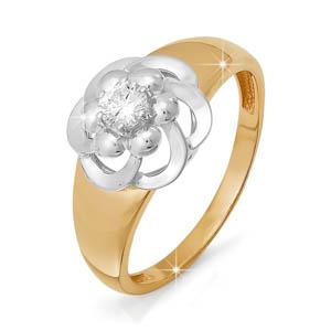 Кольцо из красного золота со вставками: бриллиант круг