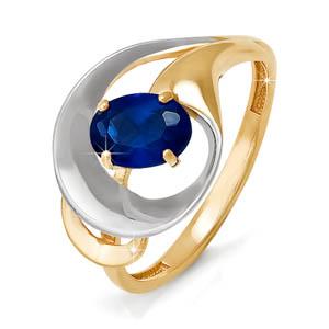 Кольцо из красного золота со вставками: сапфир натуральный, овал