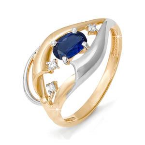 Кольцо из золота со вставками: бриллиант круг, сапфир натуральный, овал