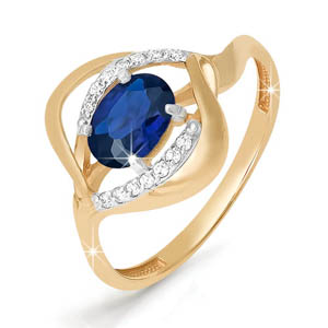 Кольцо из красного золота со вставками: сапфир натуральный, овал, бриллиант круг
