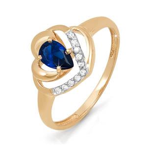 Кольцо из красного золота со вставками: бриллиант круг, сапфир натуральный, груша