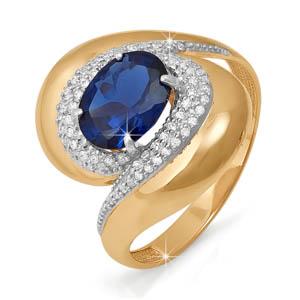 Кольцо из красного золота со вставками: бриллиант круг, сапфир натуральный, овал