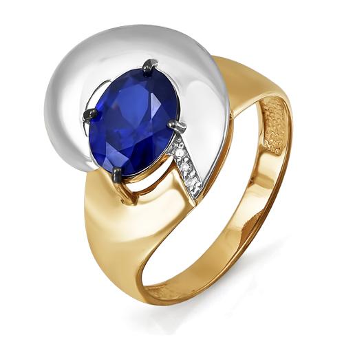 Кольцо из красного золота со вставками: бриллиант круг, сапфир синтетический, овал