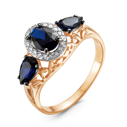 Кольцо из красного золота со вставками: бриллиант круг, сапфир синтетический, груша, сапфир синтетический, овал