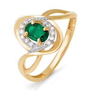 Кольцо из красного золота со вставками: бриллиант круг, изумруд натуральный, овал