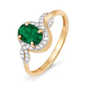 Кольцо из золота со вставками: изумруд натуральный, овал, бриллиант круг