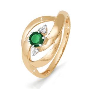 Кольцо из красного золота со вставками: изумруд натуральный, круг, бриллиант круг
