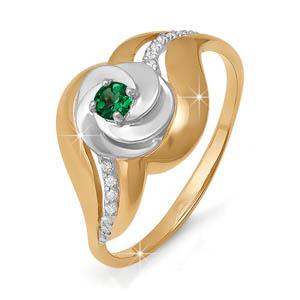 Кольцо из золота со вставками: бриллиант круг, изумруд натуральный, круг