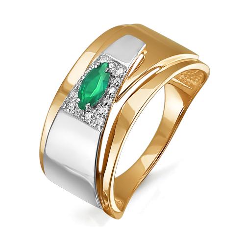 Кольцо из золота со вставками: бриллиант круг, изумруд синтетический, маркиз