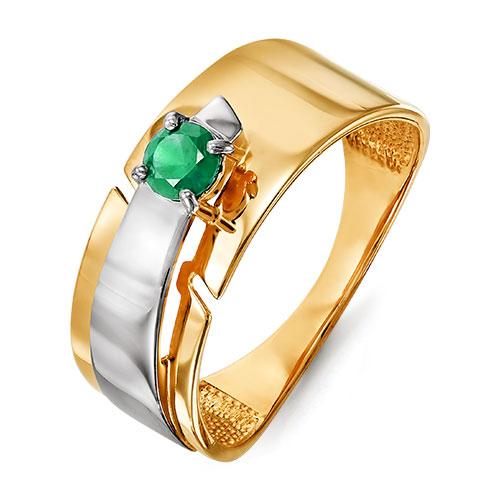 Кольцо из золота со вставками: изумруд синтетический, круг